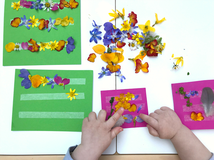 How we Montessori toddler craft ideas with flowers at18 months  nature act activity