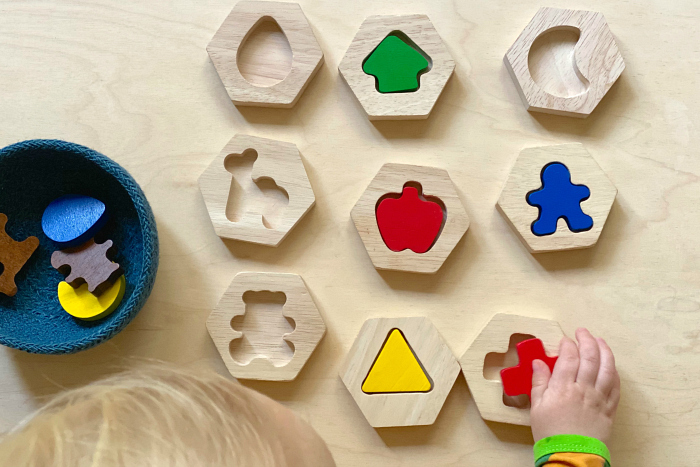 Simple shapes puzzle at How we Montessori wooden toddler puzzle