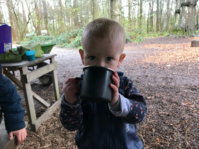 Otto 18 months  hot chocolate at Forest School