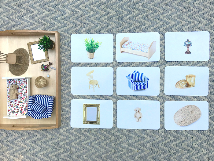 How we Montessori bathroom matching miniatures