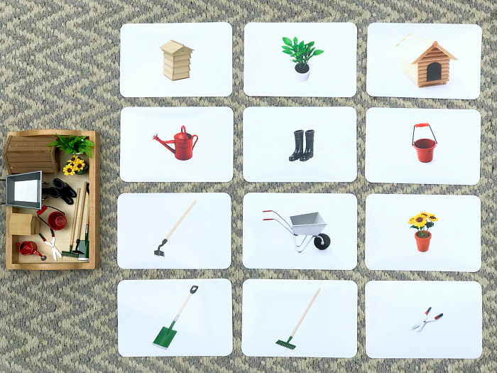 Montessori miniatures  matching and language work at How we Montessori gardening