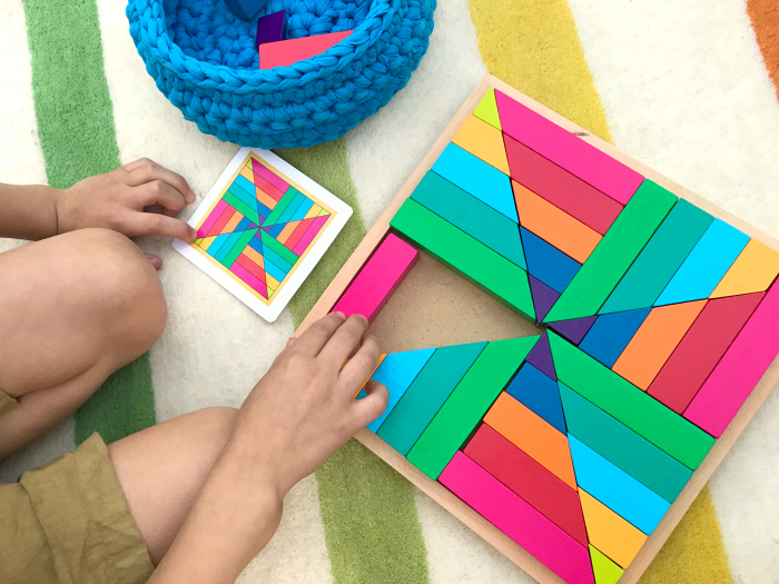Otis with Pattern play at How we Montessori