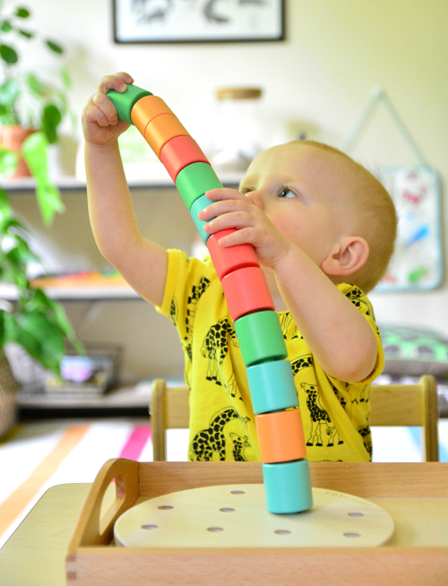Montessori wooden stacking pegs at How we Montessori   toddler big work
