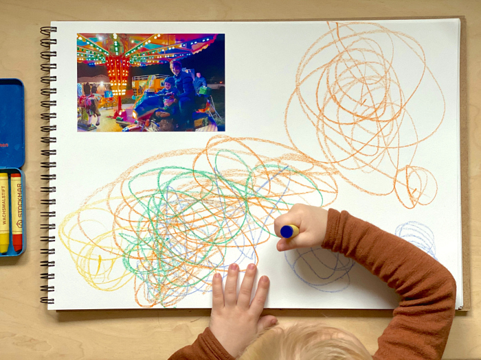 Drawing prompts and journalling for toddlers at How we Montessori Otto 27 months