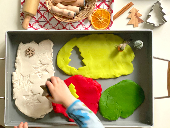Christmas play dough at How we montessori Otto 27 months
