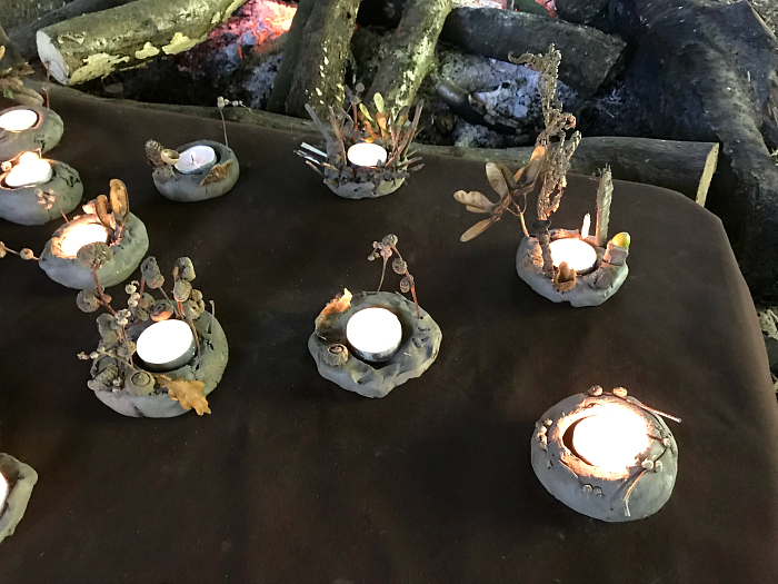 Forest School craft  clay toddler made candle holders at How we Montessori  Otto 24 months