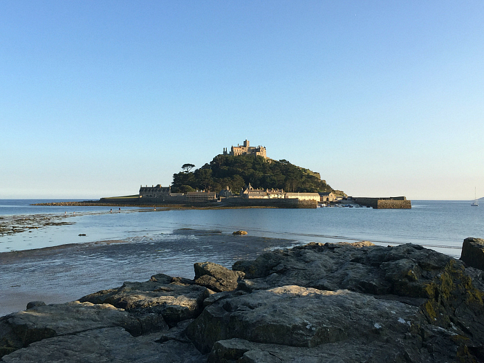 St Michael's Mount Otis and Otto at low tide July 2019