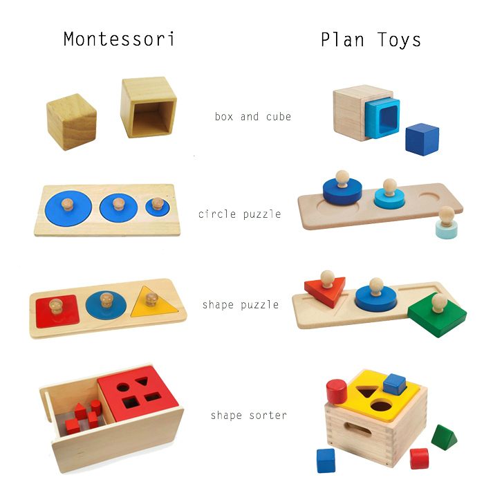 Montessori and Plan Toys materials and puzzles at How we Montessori