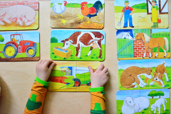 Ravensburger Puzzles two year old at How we Montessori two piece puzzle farm theme at 25 months