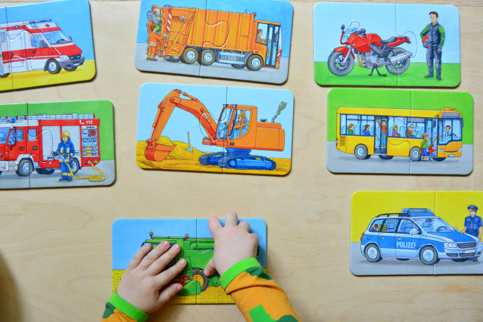 Ravensburger Puzzle two year old  two piece puzzle emergency vehicles at How we Montessori