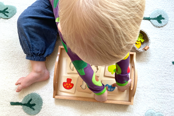 Otto 25 months How we Montessori Goki simple shapes puzzle
