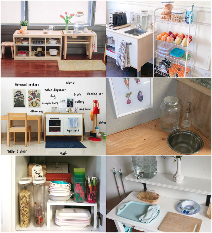 Real Montessori kitchen  and snack area from around the world at How we Montessori