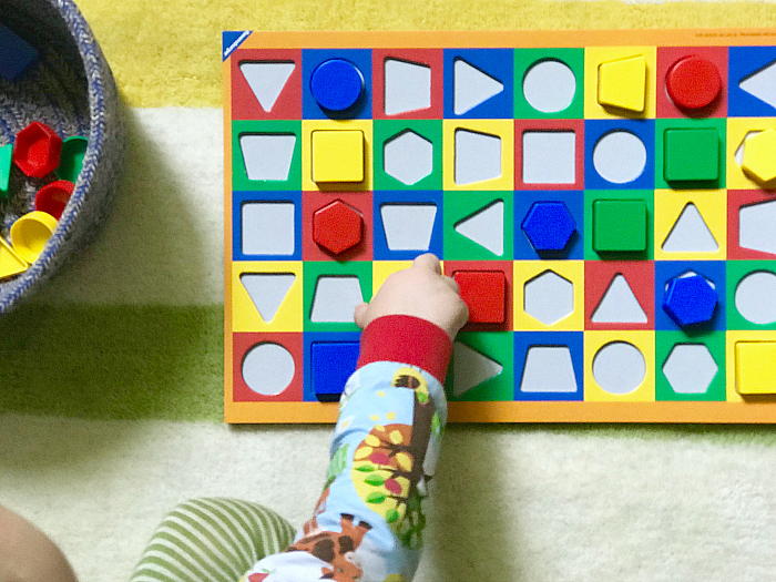 Otto 23 months with colorama at how we montessori first board game