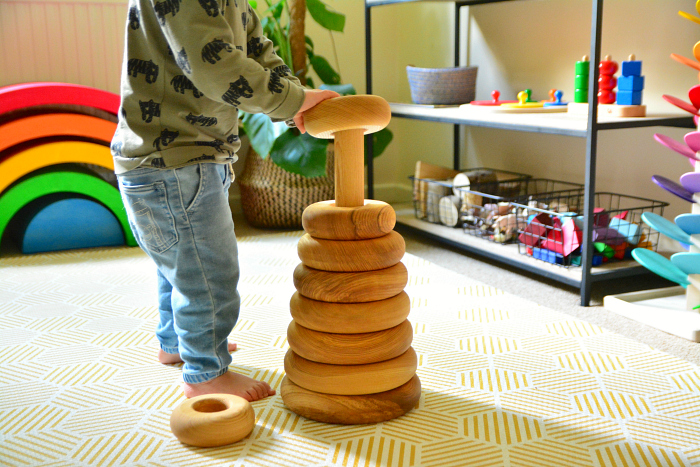 Montessori toddler knobbed cylinders at How we Montessori 24 months