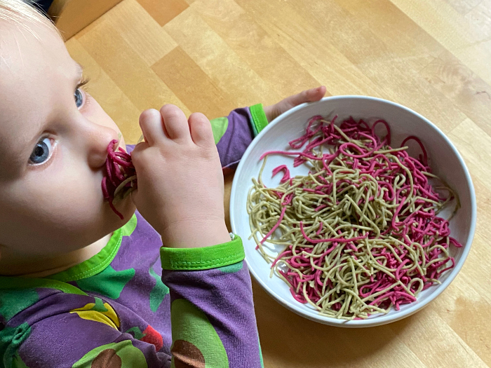 How we Montessori Home made pasta spinach and beetroot Otto 28 months