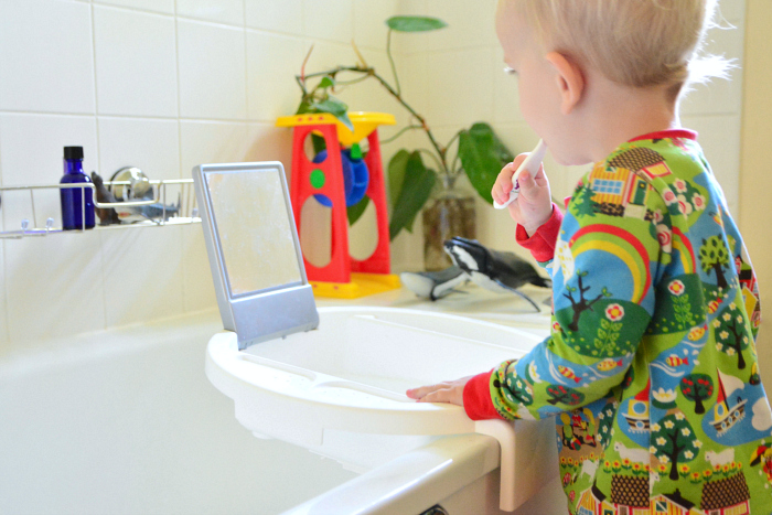 Montessori toddler basin on the sink at How we Montessori Otto 25 months