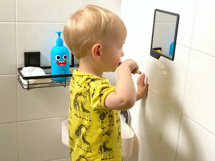 How we Montessori toddler bathroom  brush teeth  low mirror