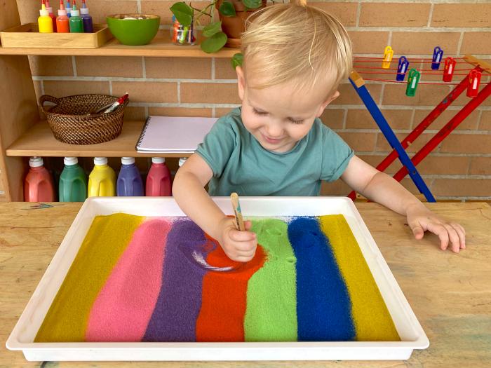 How we Montessori toddler process art two years Otto sand art play work Montessori sydney