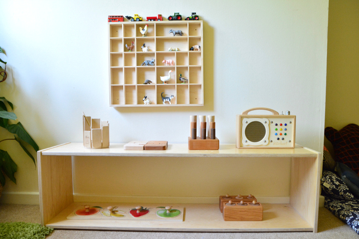 Montessori toddler play work shelves in bedroom at How we Montessori