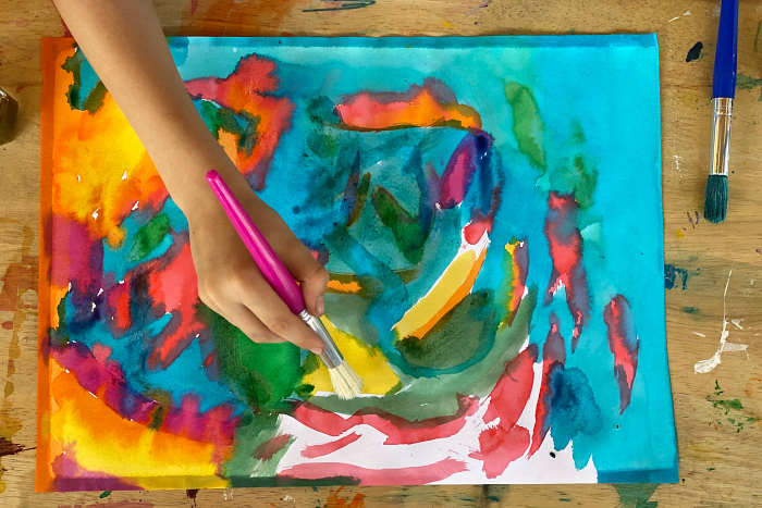 Otis' watercolour painting at How we Montessori