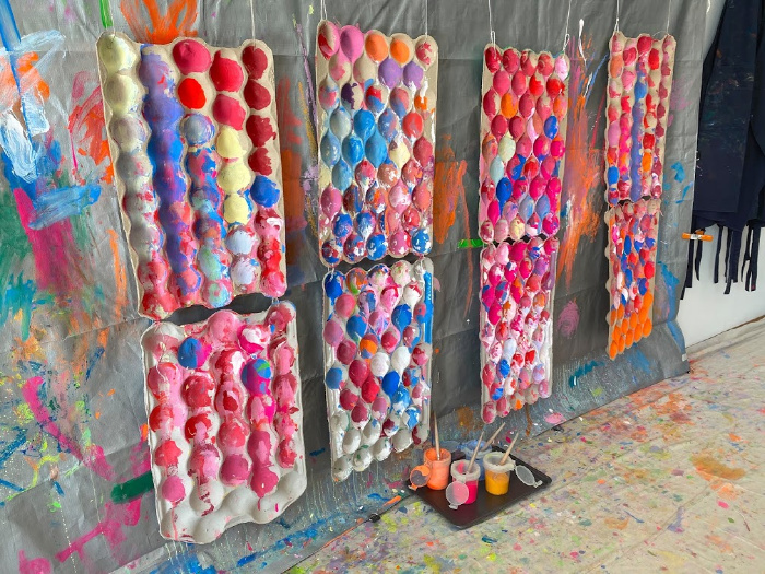 Paint wall with egg carton and texture at How we Montessori  Little Ginger studio