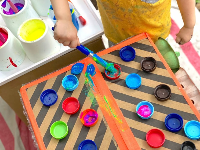 Toddler texture painting box at How we Montessori