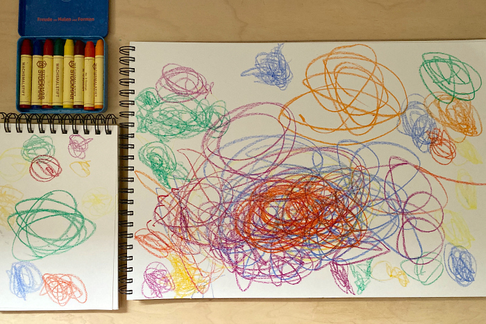 Toddler writing centre at How we Montessori scribbling is communication