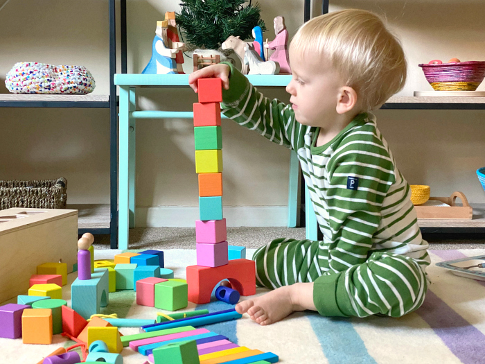 Otto 27 months with Lovevery Blocks at How we Montessori christmas 2019