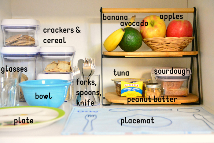 How we Montessori toddler snack shelves Sydney
