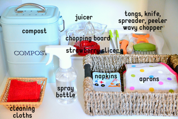 How we Montessori toddler snack shelves compost  cleaning cloths