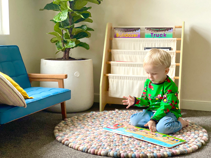 Montessori toddler room puzzle at How we Montessori Otto two years old