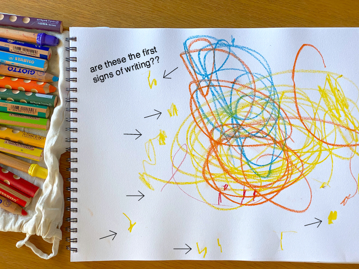 How we Montessori first signs of writing  toddler drawings at 29 months