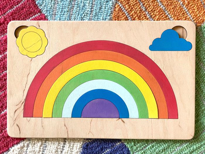 Etsy Rainbow Puzzle at How we Montessori toddler puzzle