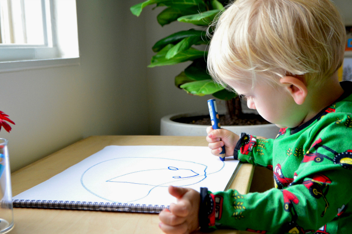 Understanding children's drawing at How we Montessori Otto at 2 years drawing with pencil