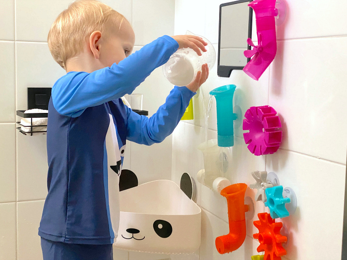 Boon bath pipes at How we Montessori educational bath toys for toddlers