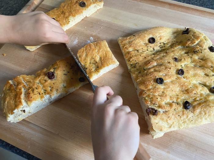 Child made focaccia at How we Montessori