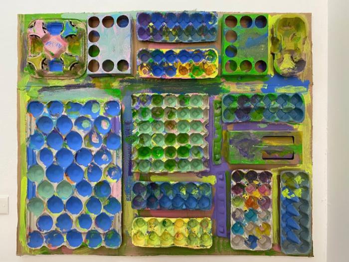 Texture art wall at Little Ginger Studio Randwick at How we Montessori toddler messy art class