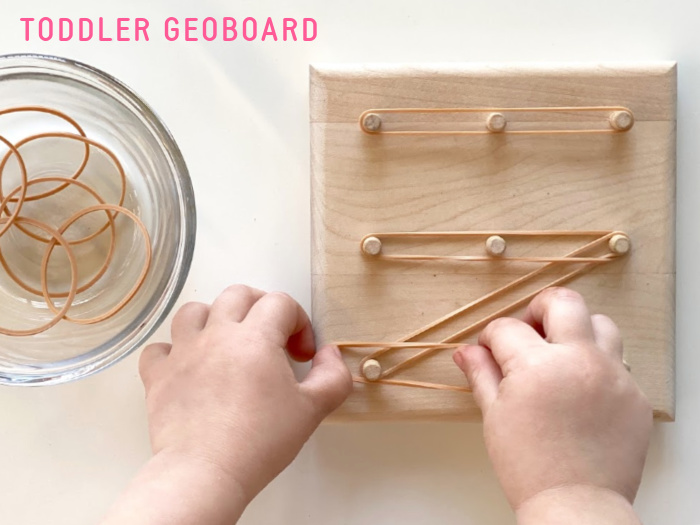 How we Montessori Toddler Geoboard two year old