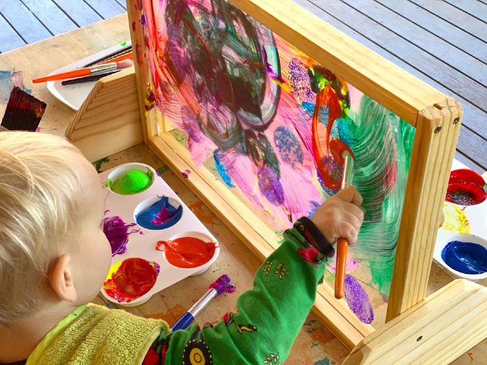 See through easel at How we Montessori toddler art at home