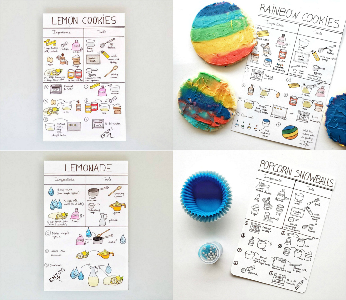 This French Mom Montessori Illustrated recipes for kids