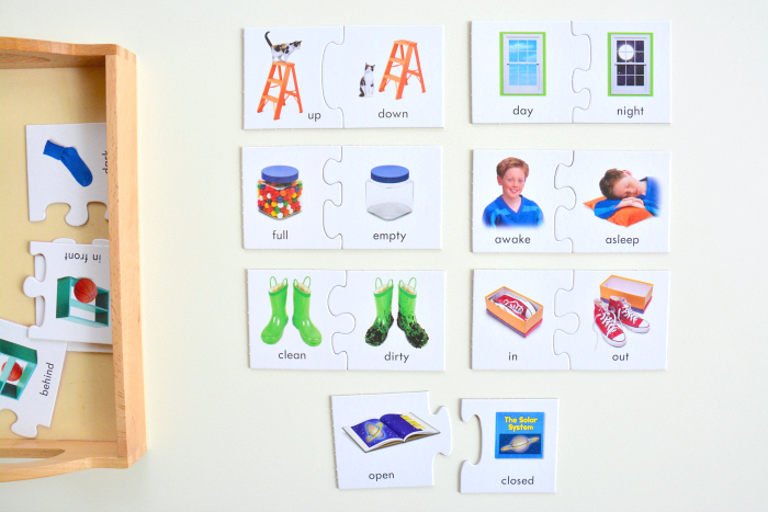 How we Montessori opposites puzzle for toddlers