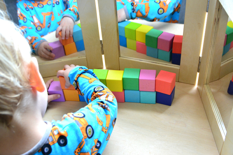 Blocks and mirrors at How we Montessori toddler
