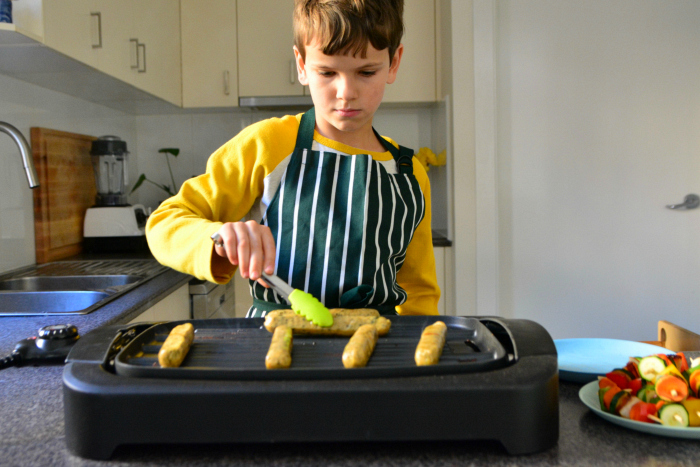 Otis and Otto at How we Montessori cooking vegie kebabs