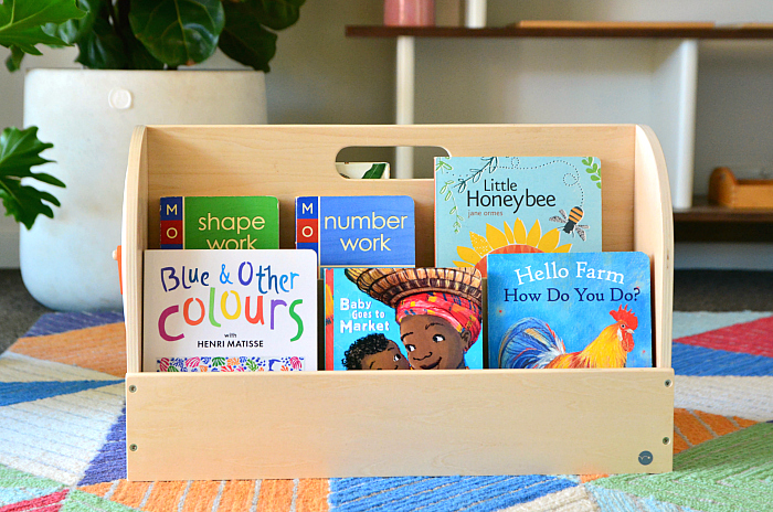 How we Montessori books on shelf