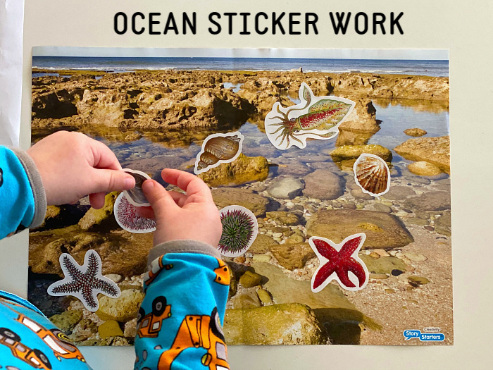 Ocean life coastal sticker work at How we Montessori toddler Otto 2 years 2020