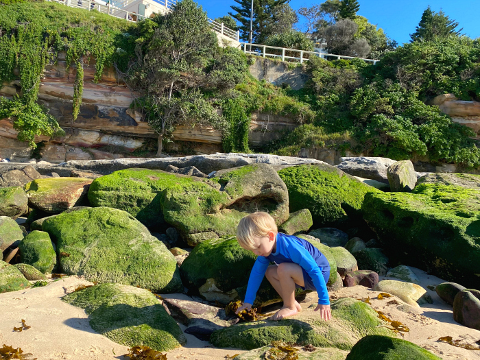 Exploring Bondi Beach with Otto at How we Montessori at two years June 2020