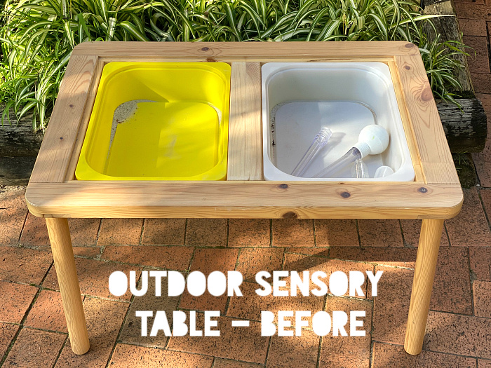 Ikea Flisat Sensory Table for Montessori DIY outside play for toddlers (2)