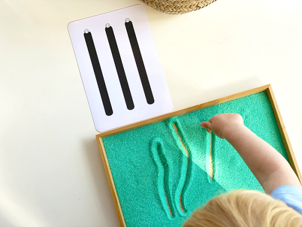 Sand writing tray Sand tray toys Wooden sand tracing tray with flashcard holder Montessori sand tray Waldorf educational toy