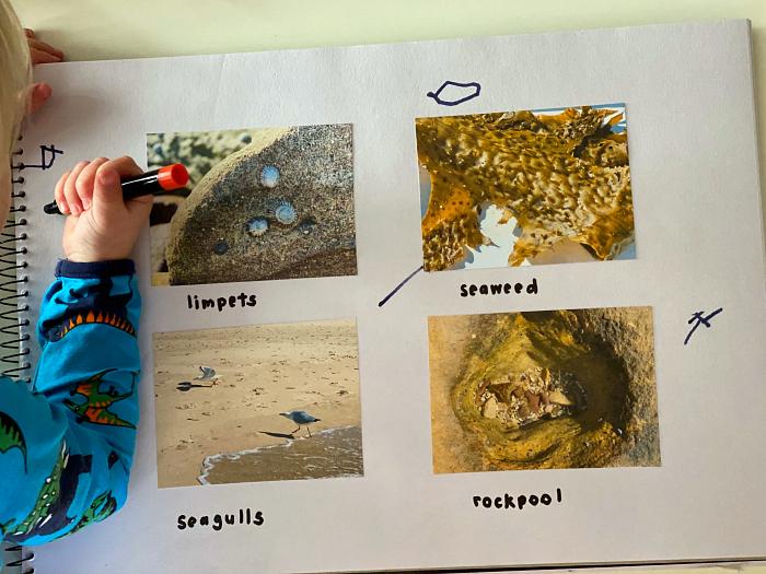 Prewriting at How we Montessori nature journal toddler 2 years