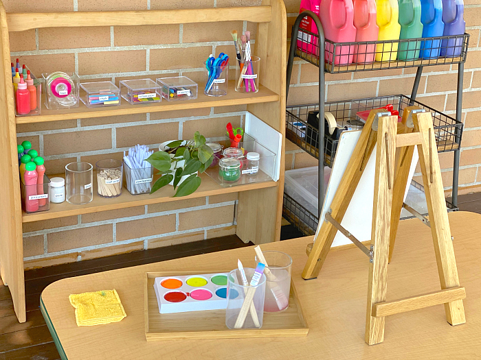 How we Montessori art easel being used Otto two years Sydney